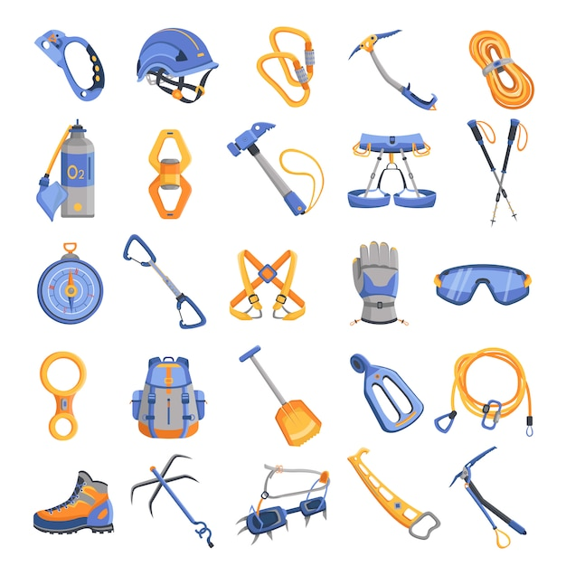 Mountaineering equipment icons set Premium Vector