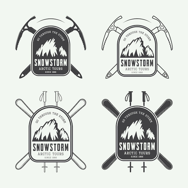 Mountaineering and expeditions logos Premium Vector