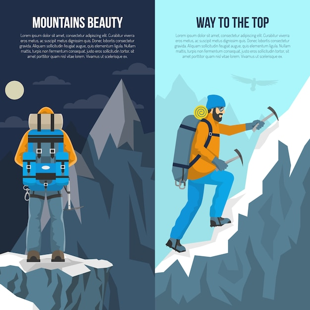 Mountaineering flat banner Free Vector