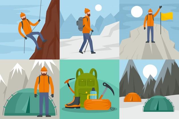 Mountaineering ride Premium Vector