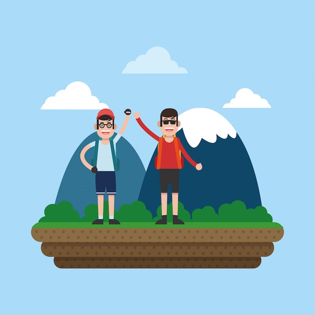 Mountaineering sport cartoon Premium Vector