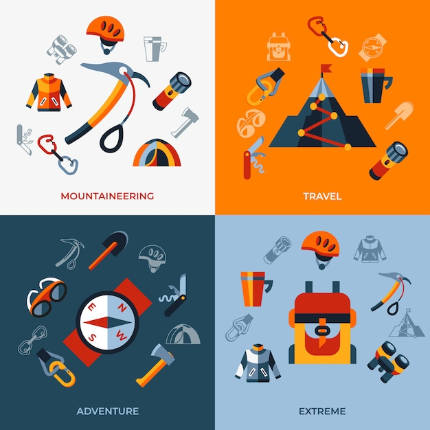 Mountaineering technology icons set Premium Vector