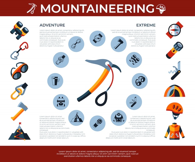 Mountaineering technology icons set Premium Vector