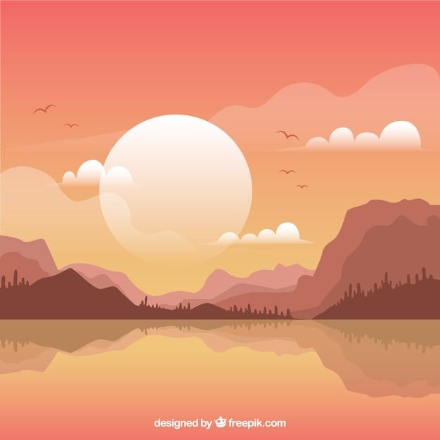 Landscape Illustration Vector Free: Mountainous Landscape Background At Sunset Vector