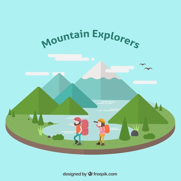 Landscape Illustration Vector Free: Mountainous Landscape Illustration With Explorers In Flat