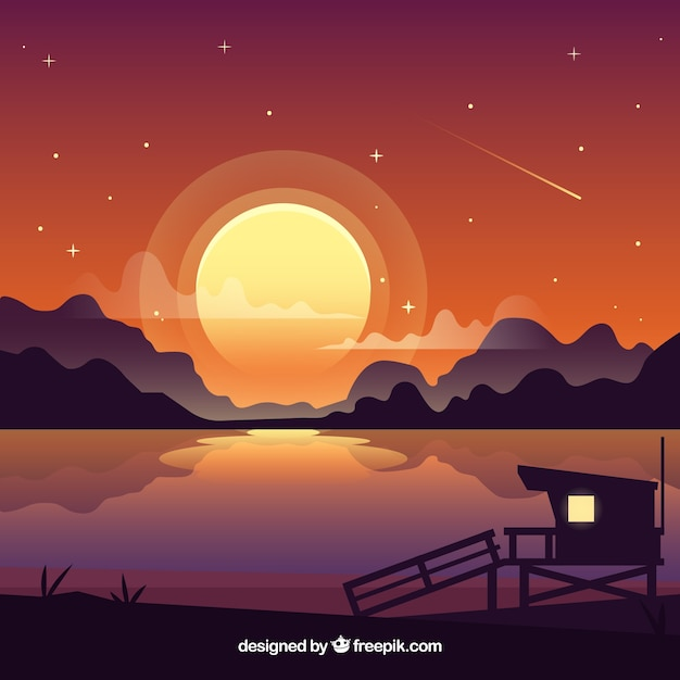 Mountainous night landscape background with\ lake