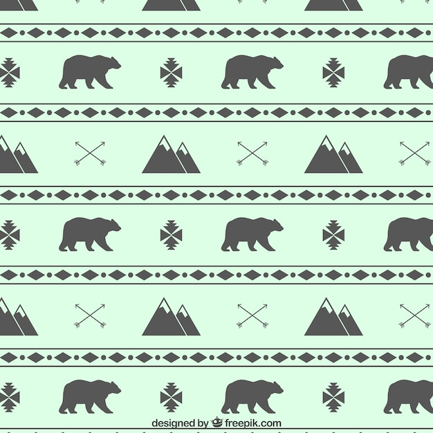 Mountains And Bears Pattern Vector Free Download