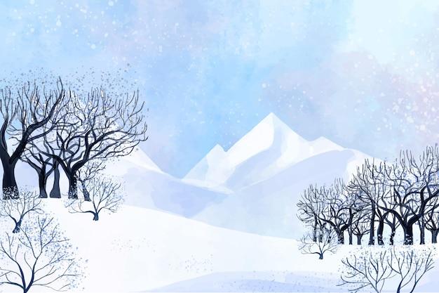 山と木の枝の冬の風景 無料ベクター