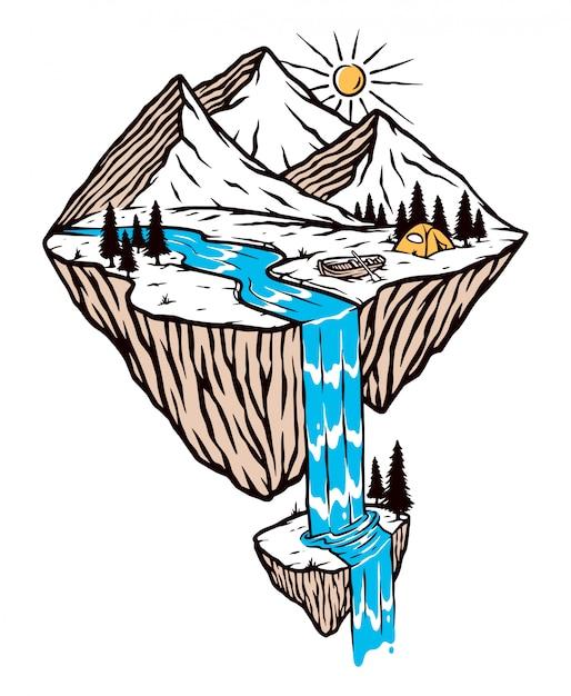 산과 폭포 그림 프리미엄 벡터