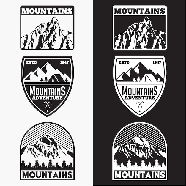 Mountains badges Premium Vector