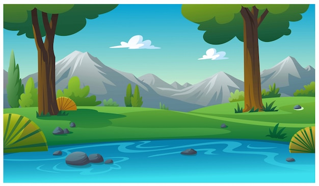 Mountains and bright sky in the morning. Premium Vector