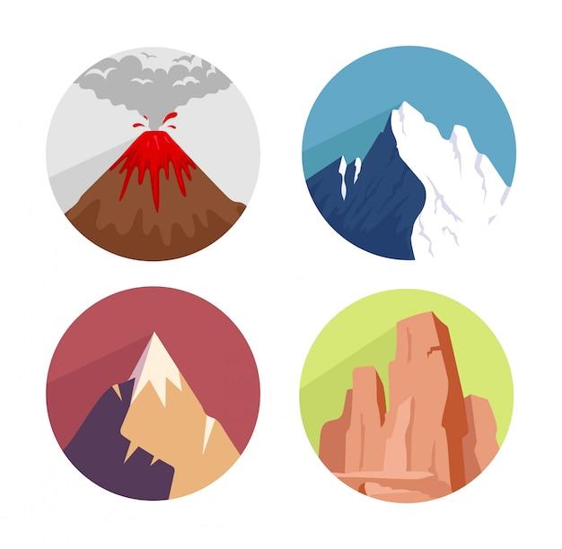 山の概念のアイコンを設定 Premiumベクター