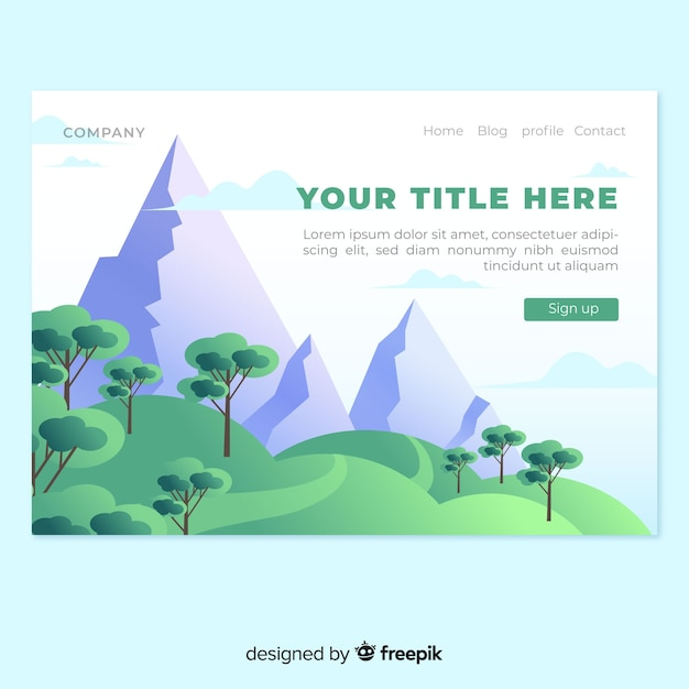 Mountains landing page Free Vector