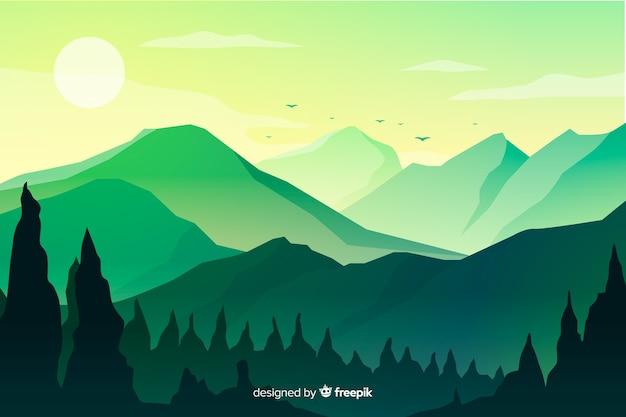 日没で山の風景 無料ベクター