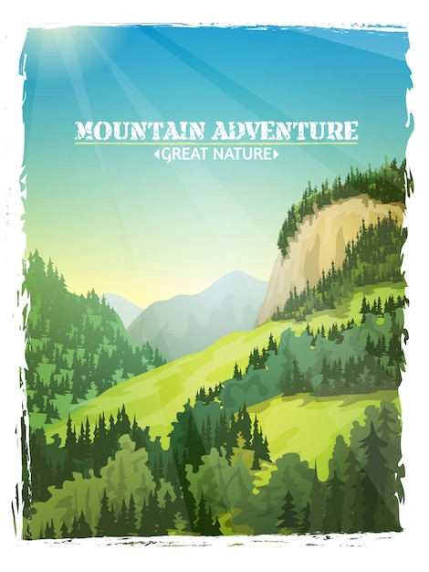Mountains landscape background poster Free Vector