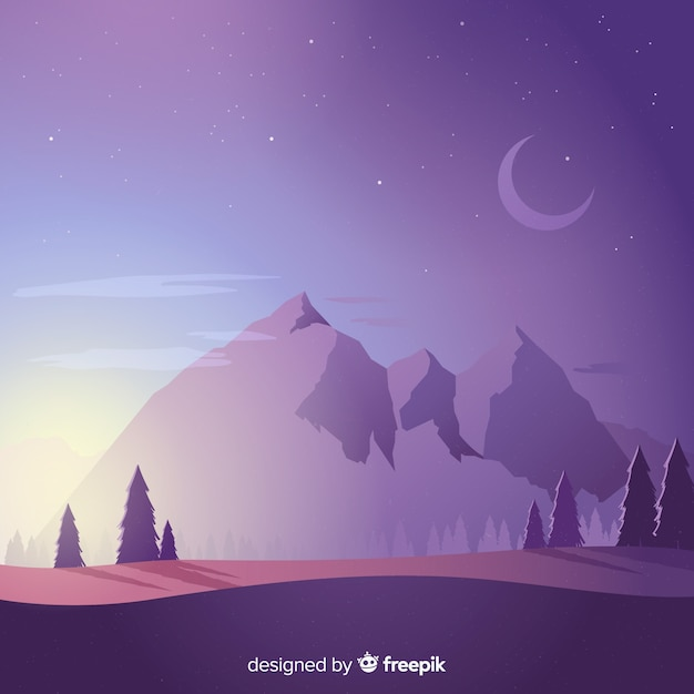 Mountains landscape background Free Vector
