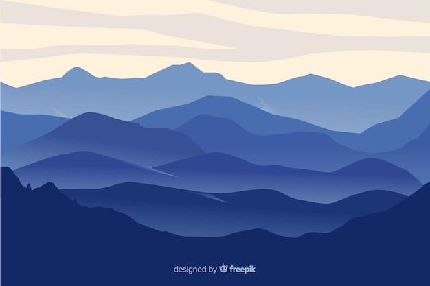 Горы пейзаж синий градиент Бесплатные векторы