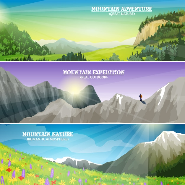 Mountains landscape flat horizontal banners set Free Vector