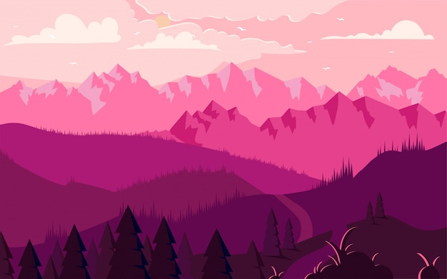 Mountains landscape flat minimalistic illustration Premium Vector