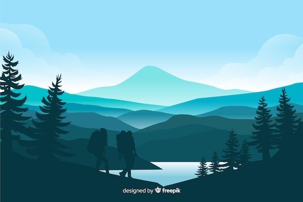 Горы пейзаж с елями и озером Premium векторы