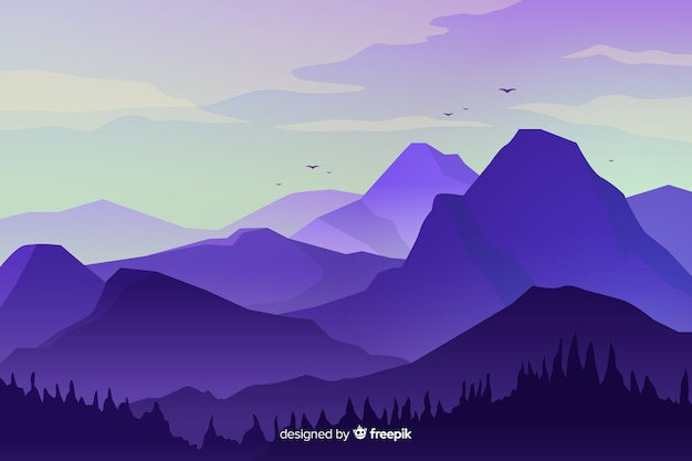 Mountains landscape with high peaks Free Vector