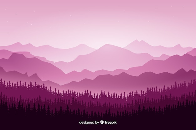 Mountains landscape with trees on violet shades Free Vector