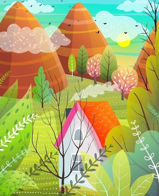 山の木々と家、自然風景イラスト Premiumベクター