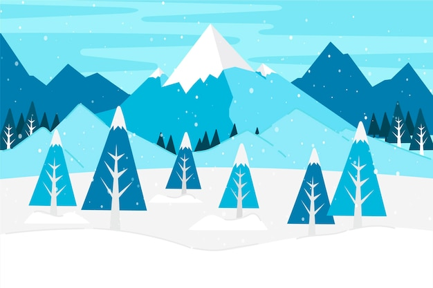 Mountains and trees in winter time Premium Vector