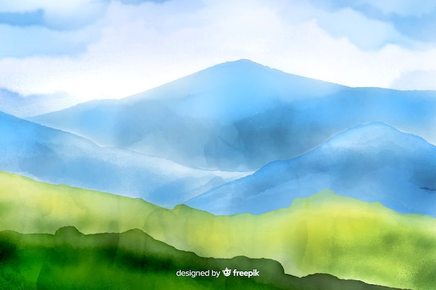 Mountains watercolor landscape background Free Vector