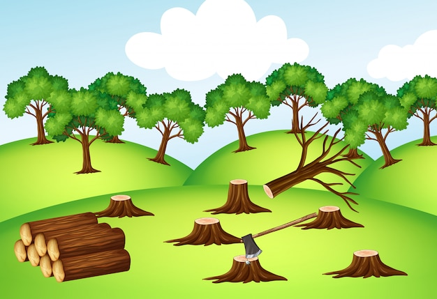 Mountains with chopped trees Free Vector