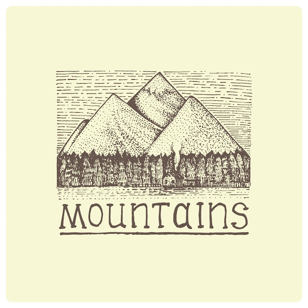 Mountains with house and forest engraved, hand drawn  illustration in woodcut scratchboard style, vintage drawing Premium Vector