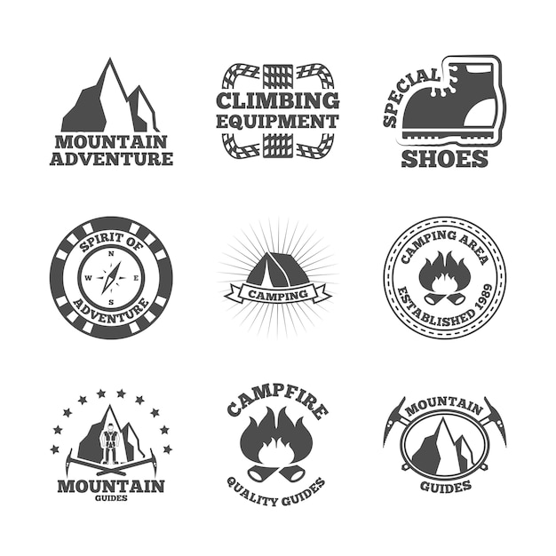 Mountine climber labels set Free Vector