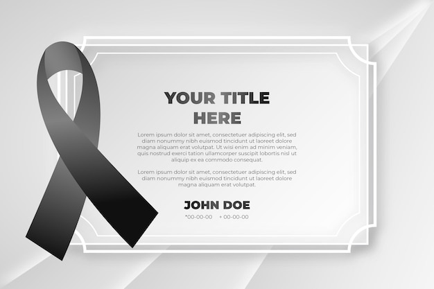 Mourning black respect ribbon Free Vector