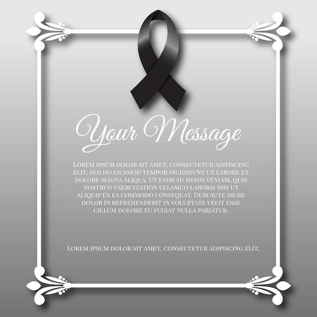Mourning black ribbon and frame Premium Vector