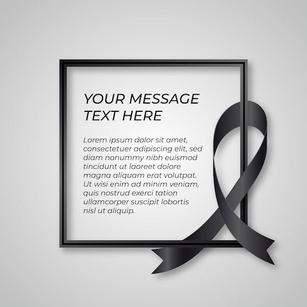 Mourning black ribbon grief concept Free Vector