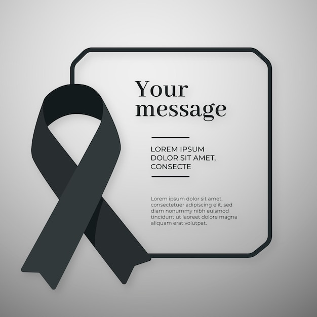 Mourning black ribbon with message Premium Vector