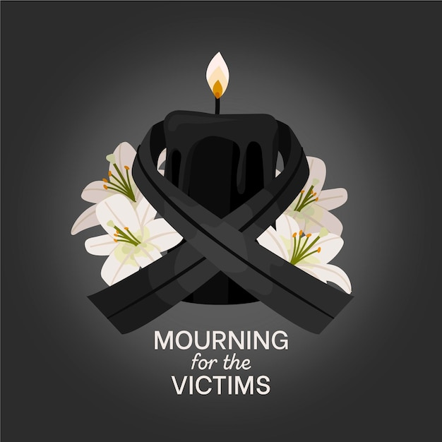 Mourning ribbon and lighten candle Free Vector