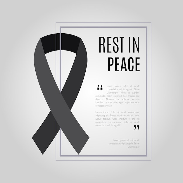 Mourning ribbon rest in peace Free Vector