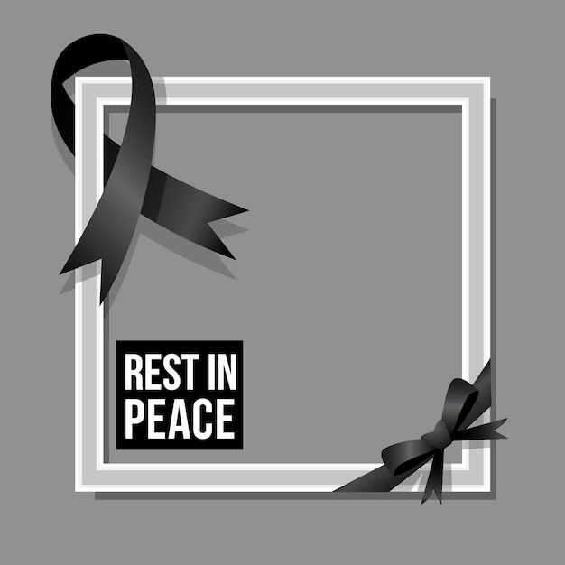 Mourning ribbon with copy space frame Premium Vector