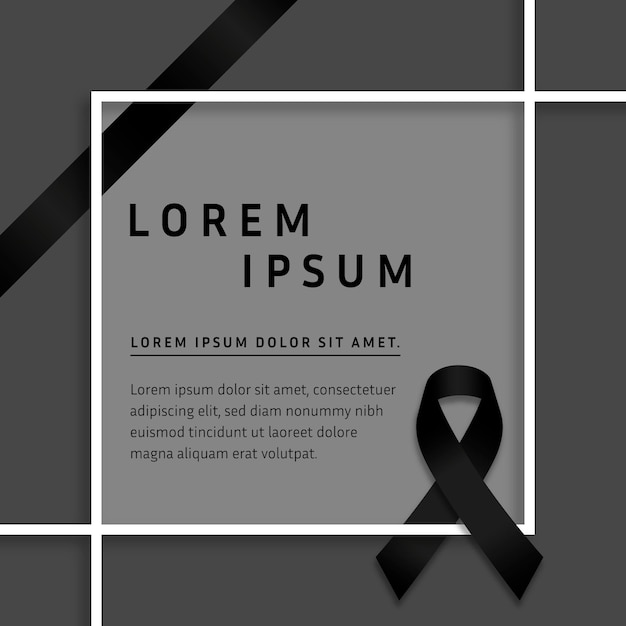 Mourning ribbon with frame concept Free Vector