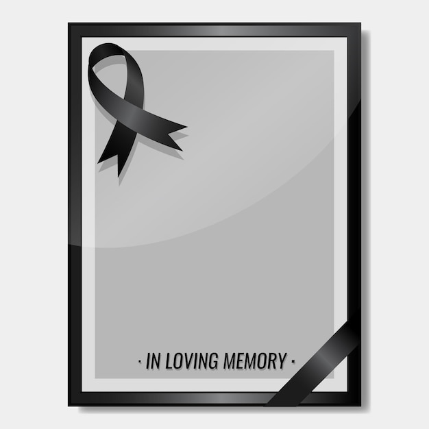 Mourning ribbon with frame copy space funeral concept Free Vector