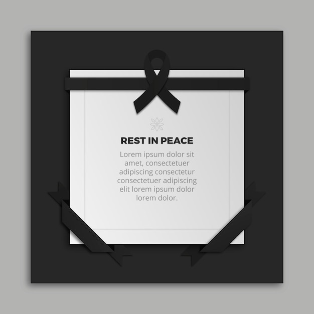 Mourning ribbon with frame and message Premium Vector