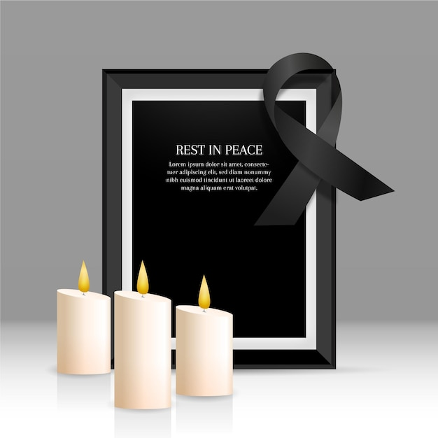 Mourning ribbon with frame theme Premium Vector