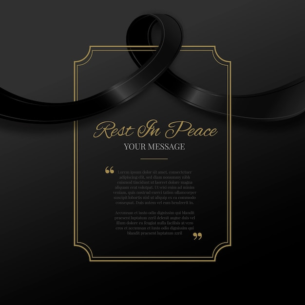 Mourning ribbon with frame Premium Vector