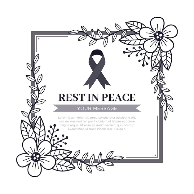 Mourning ribbon with frame Free Vector