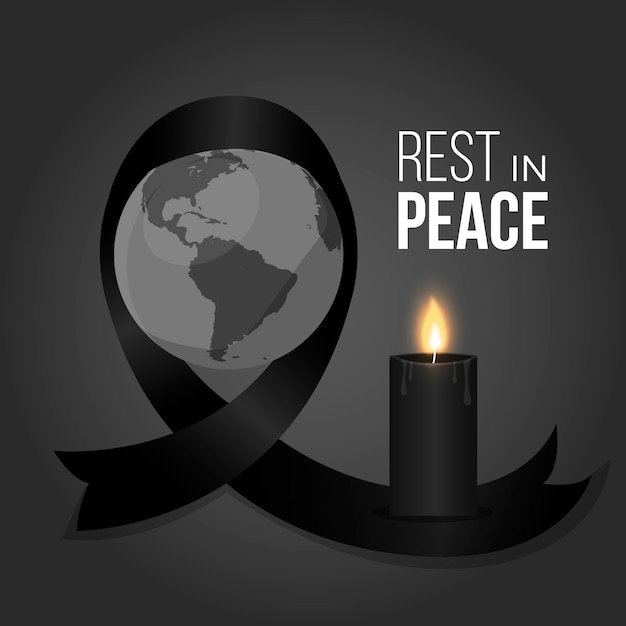 Mourning symbol black ribbon for the victims Premium Vector