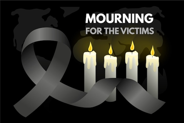 Mourning for the victims and candles Free Vector
