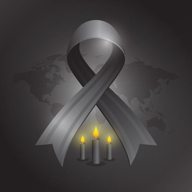 Lutto per l'illustrazione delle vittime con nastro nero Vettore gratuito