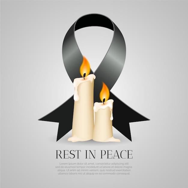 Lutto per le vittime con la candela Vettore gratuito