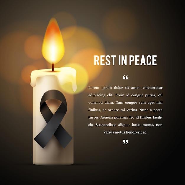 Lutto per le vittime con candela Vettore gratuito